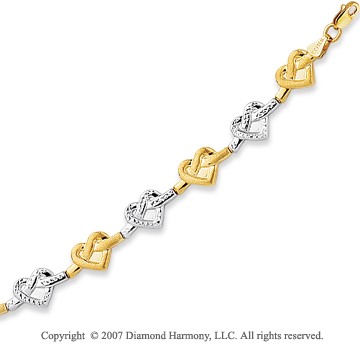 14k Two Tone Gold 7.25in Fine Knotted Heart Bracelet