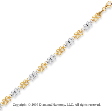 14k Two Tone Gold 7.25 Inch Graceful Butterfly Bracelet