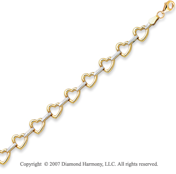 14k Two Tone Gold 7.25in Elegant Fine Hearts Bracelet