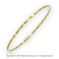 14k Yellow Gold 3.00mm Classic Slip On Flexible Bangle