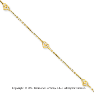 14k Yellow Gold Diamond Hearts N Arrow Bracelet