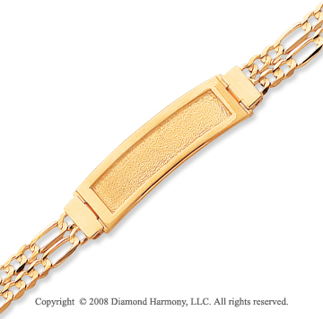 14k Yellow Gold Double Strand Figaro ID Bracelet