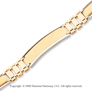 14k Two Tone Gold Fancy Link ID Bracelet