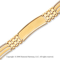 14k Two Tone Gold Fancy ID Bracelet