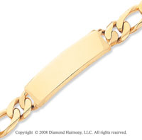 14k Yellow Gold Hand Polished Figaro ID Bracelet