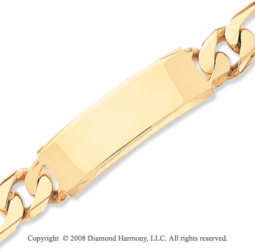 14k Yellow Gold Hand Polished Fine Figaro ID Bracelet