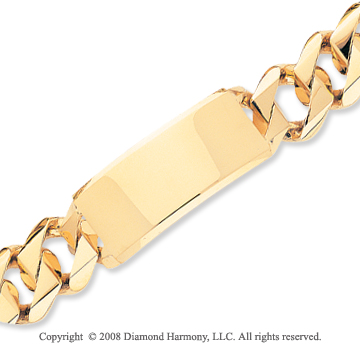 14k Yellow Gold Heavy Link ID Bracelet