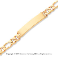 14k Yellow Gold Polished Figaro ID Bracelet