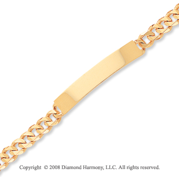 14k Yellow Gold Fine Traditional Link ID Bracelet