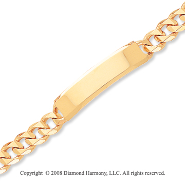 14k Yellow Gold Classic Traditional Link ID Bracelet