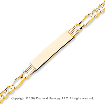 14k Yellow Gold Lobster Claw Clasp 8 Inch ID Bracelet