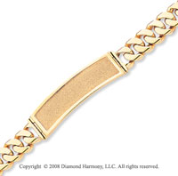 14k Yellow Gold Box Clasp 8 Inch Solid ID Bracelet
