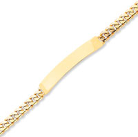 14k Yellow Gold Box Clasp 8 Inch Polished ID Bracelet