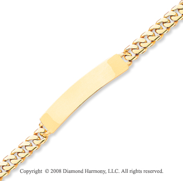 14k Yellow Gold Fine Box Clasp Solid ID Bracelet