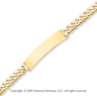 14k Yellow Gold Fine Box Clasp Polished ID Bracelet