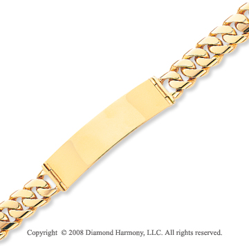 14k Yellow Gold Fine Box Clasp 8 Inch Solid ID Bracelet