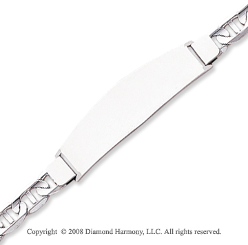 14k White Gold 8 Inch Engraveable ID Bracelet