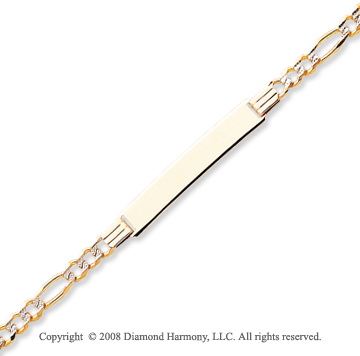 14k Yellow Gold 8 Inch Solid ID Bracelet