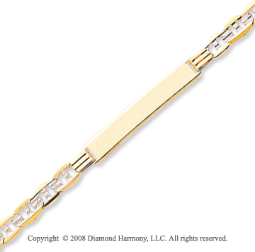 14k Yellow Gold Stylish 8 Inch ID Bracelet
