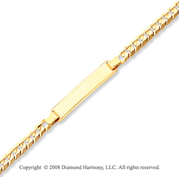 14k Yellow Gold Elegant 4.75mm Solid ID Bracelet