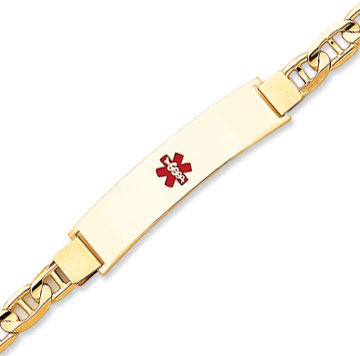 14k Yellow Gold  Engraveable Medical ID Bracelet