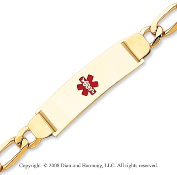 14k Yellow Gold Enamel Medical ID Bracelet