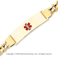 14k Yellow Gold Heavy Medical ID Bracelet
