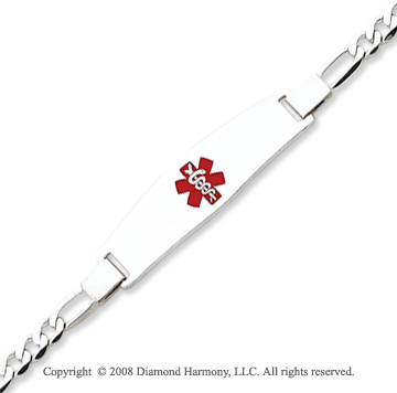 14k White Gold Classic Medical ID Bracelet
