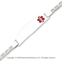 14k White Gold Modern Enamel Medical ID Bracelet