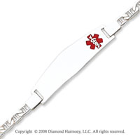 14k White Gold Polished Medical ID Bracelet