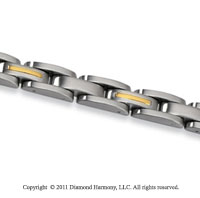Stainless Steel and 14k Yellow Gold Men's Bracelet