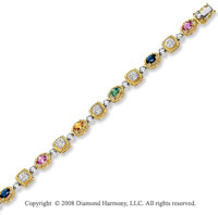 14k Two Tone Gold  Multi Colored Sapphire Diamond Bracelet