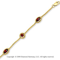 14k Yellow Gold Rope Detailed 1.65 Carat Garnet Bracelet