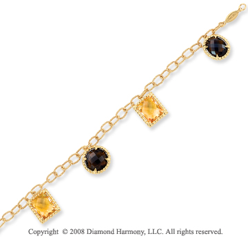 14k Yellow Gold Citrine and Smokey Quartz Bracelet