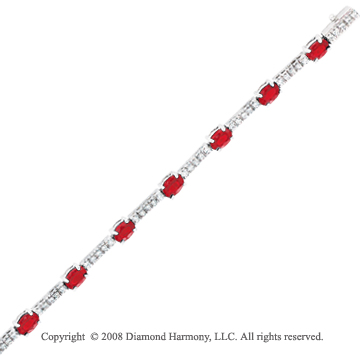 14k White Gold Ruby and Diamond Bracelet