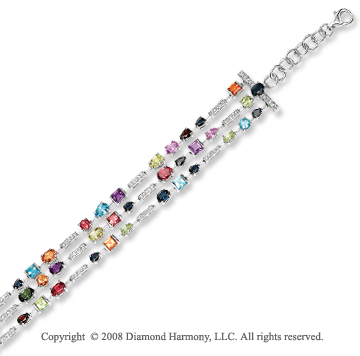 14k White Gold Multi Gem and Diamond Multi Strand Bracelet
