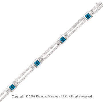 14k White Gold 1.45 Carat Sapphire and 3/4 Carat Diamond Bracelet