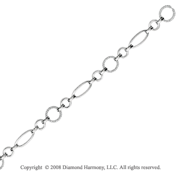 14k White Gold 1/3 Carat Elegant Diamond Circle Bracelet