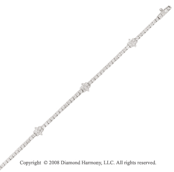 14k White Gold 1.80 Carat Diamond Flower Tennis Bracelet