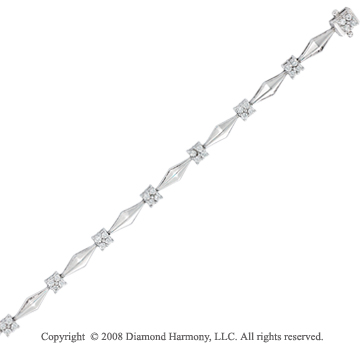 14k White Gold 3/4 Carat Simple Diamond Bracelet