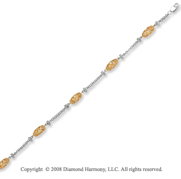 14k Two Tone Gold 0.40 Carat Artistically Carved Diamond Bracelet