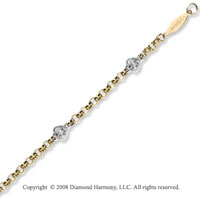 14k Two Tone Gold Diamond Heart Children's Bracelet