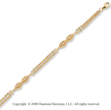 14k Yellow Gold 1/4 Carat Unique Diamond Bracelet