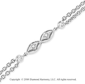 14k White Gold 1/4 Carat Unique Diamond Bracelet