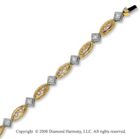 14k Two Tone Gold 3/4 Carat Stunningly Elegant Diamond Bracelet