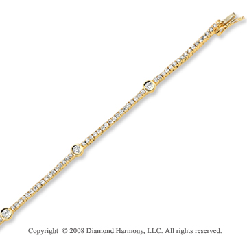 14k Yellow Gold 1 1/4 Carat Diamond Tennis Bracelet