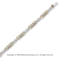 14k Two Tone Gold 1/3 Carat Diamond Vintage Style Bracelet