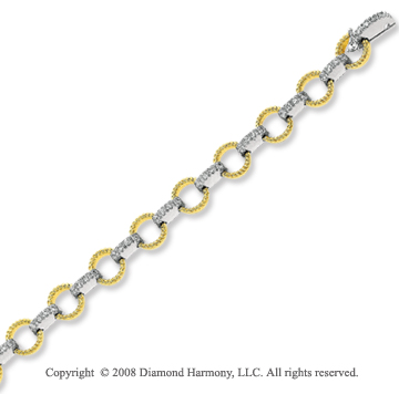 14k Two Tone 1 1/3 Carat Diamond Circle Link Bracelet