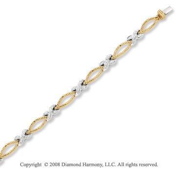 14k Two Tone Gold Pave Set 0.45 Carat Elegant Diamond Bracelet