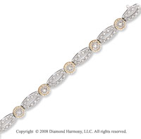 14k Two Tone 1 Carat Elegant Diamond Bracelet